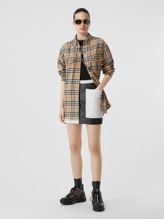 Vintage Check Cotton Flannel Oversized Shirt in Archive Beige