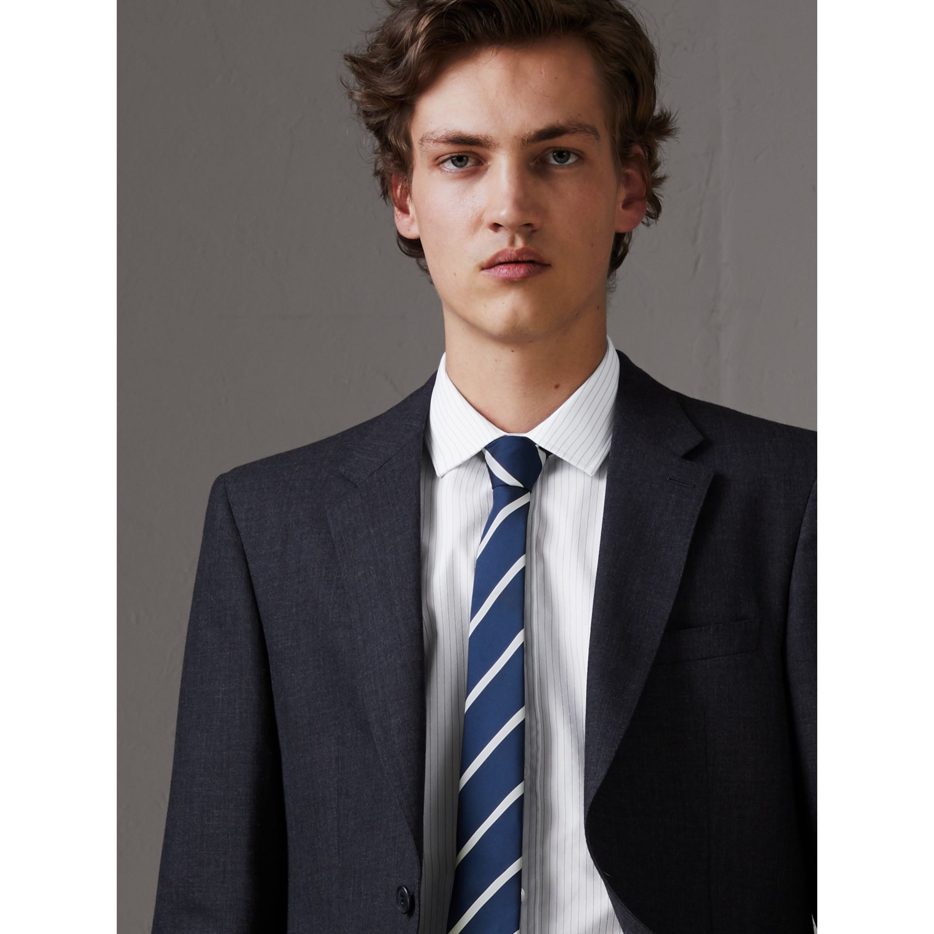 Slim Cut Striped Silk Twill Tie in Navy - Men | Burberry - gallery image 3