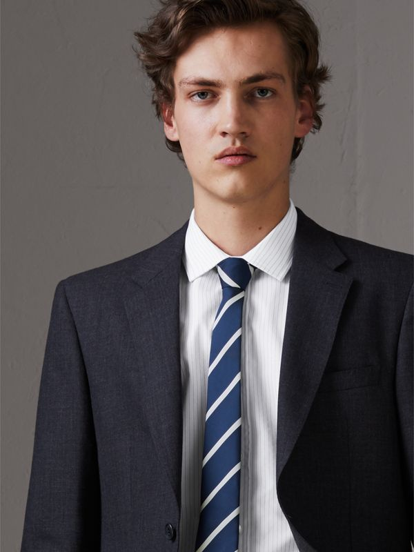 Slim Cut Striped Silk Twill Tie in Navy - Men | Burberry - cell image 2
