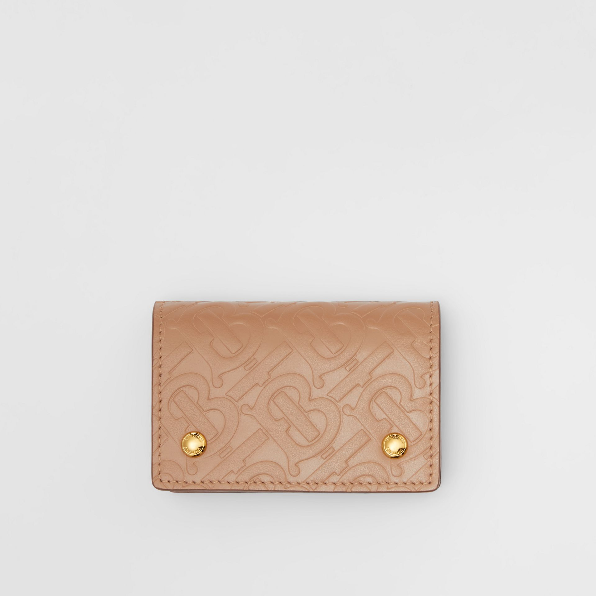 Monogram Leather Card Case in Light Camel - Women | Burberry - gallery image 0