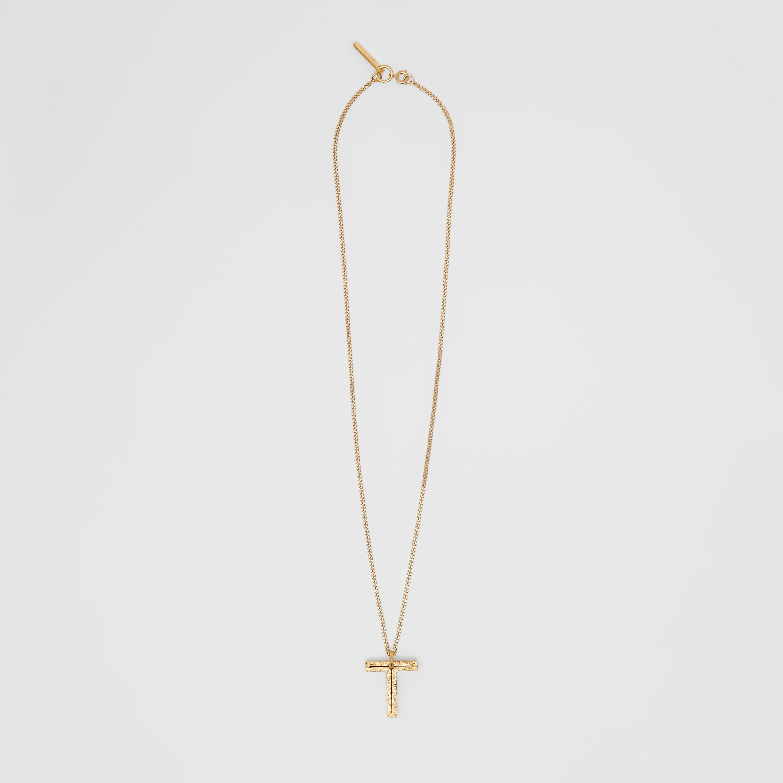 'T' Alphabet Charm Gold-plated Necklace in Light - Women | Burberry - 1