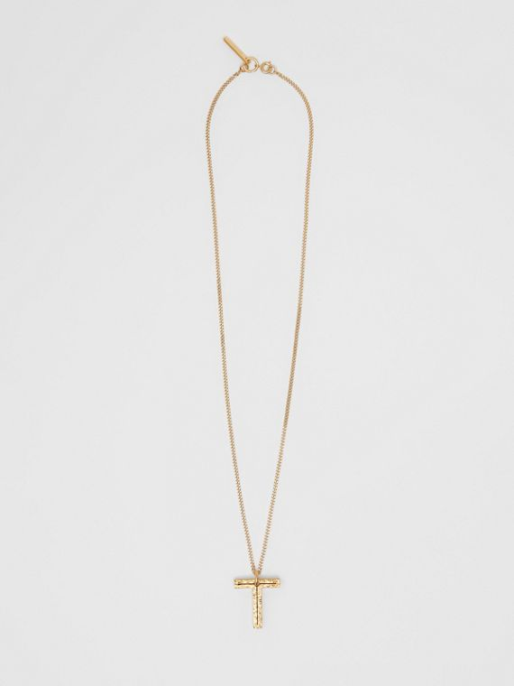 'T' Alphabet Charm Gold-plated Necklace in Light