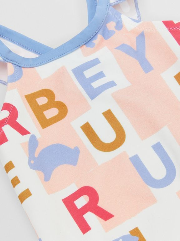 Ruffle Detail Logo Print Swimsuit in Pale Rose - Children | Burberry - cell image 1