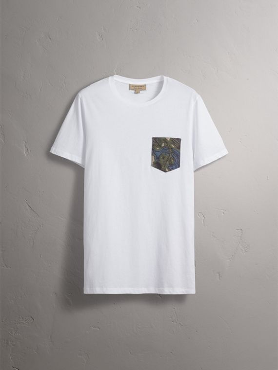 Beasts Jacquard Pocket Detail Cotton T-shirt in White - cell image 3