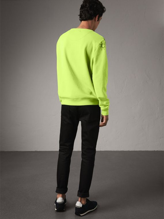 Doodle Print Cotton Sweatshirt in Bright Lemon - Men | Burberry - cell image 2