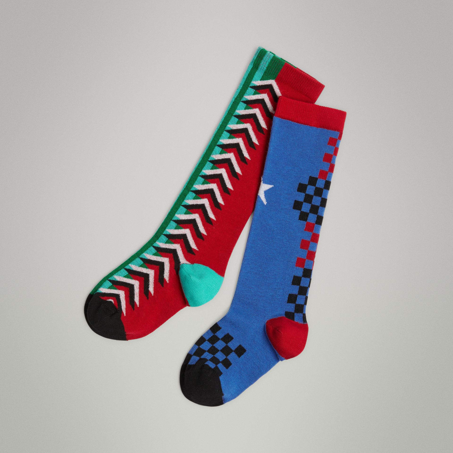 Graphic Intarsia Cotton Blend Socks in Multicolour | Burberry - gallery image 0