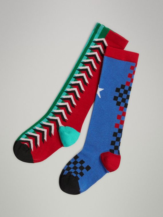 Graphic Intarsia Cotton Blend Socks in Multicolour