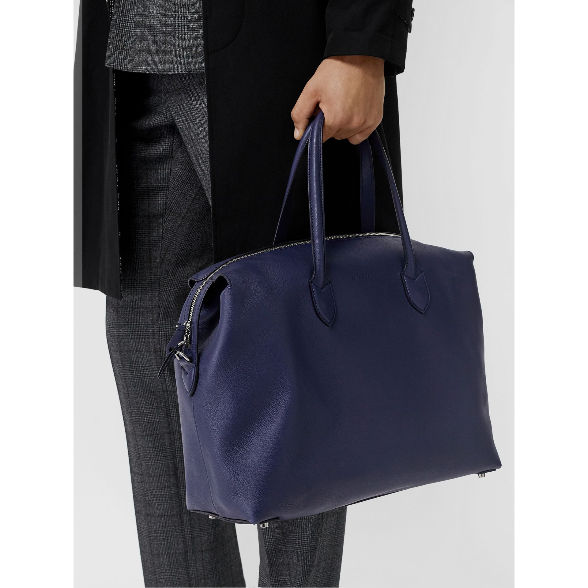 Soft Leather Holdall in Regency Blue - Men | Burberry - gallery image 2