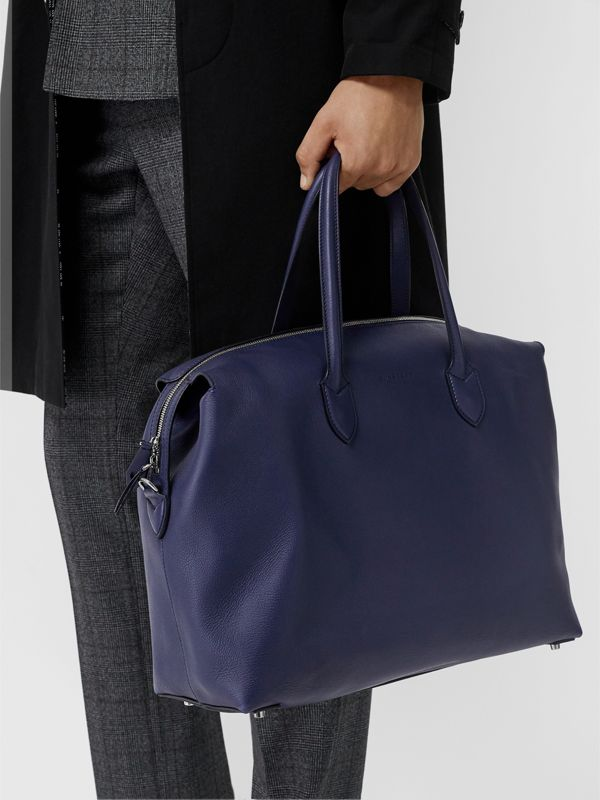 Soft Leather Holdall in Regency Blue - Men | Burberry United Kingdom - cell image 2