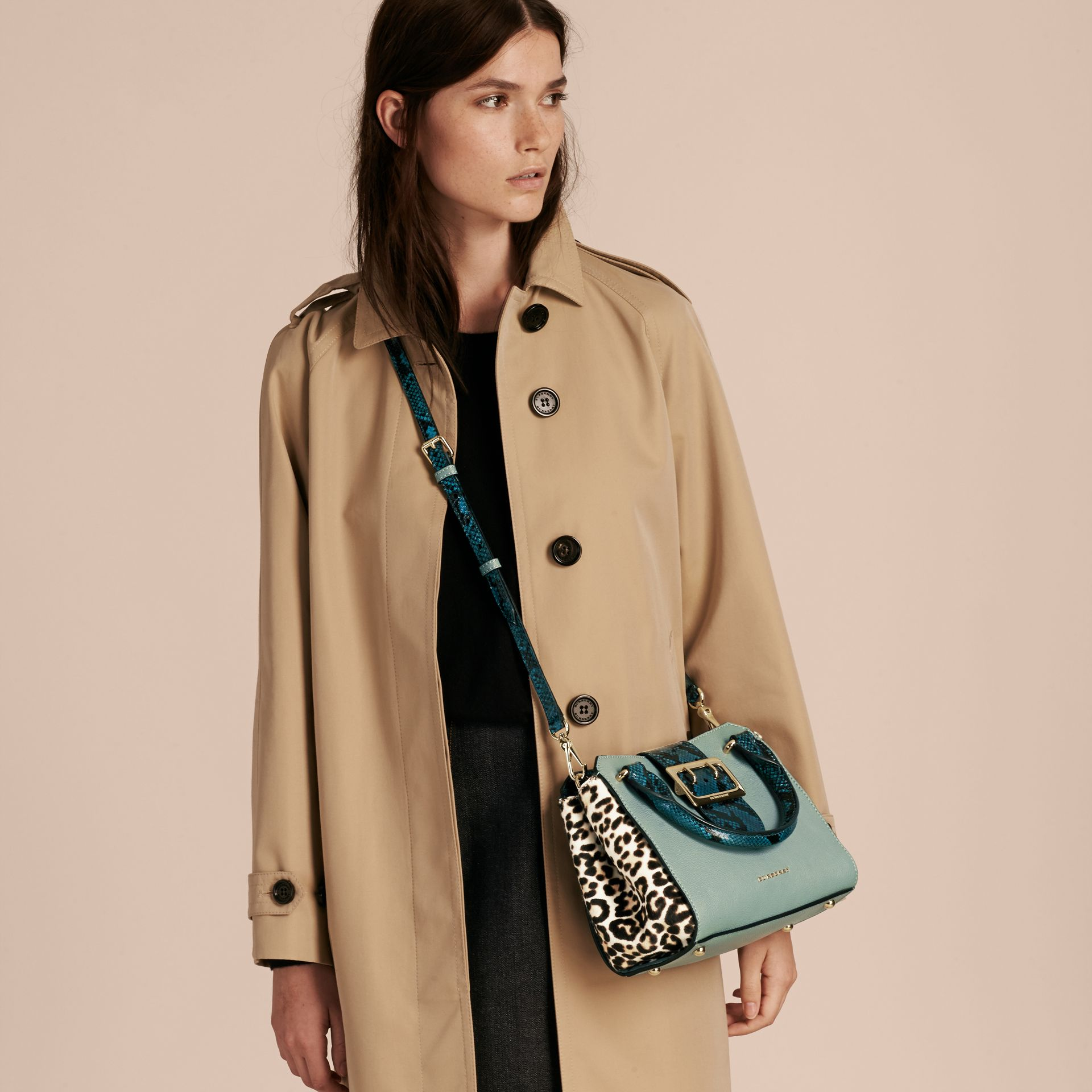 The Small Buckle Tote in Leather and  Leopard-print Calfskin Eucalyptus Green - gallery image 3