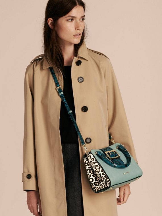 The Small Buckle Tote in Leather and  Leopard-print Calfskin Eucalyptus Green - cell image 2