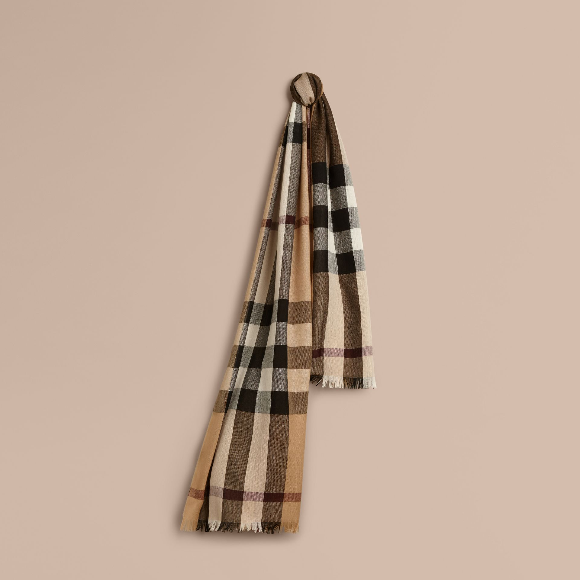 Lightweight Check Wool Cashmere Scarf in Camel - gallery image 1