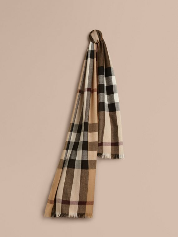 Lightweight Check Wool Cashmere Scarf in Camel