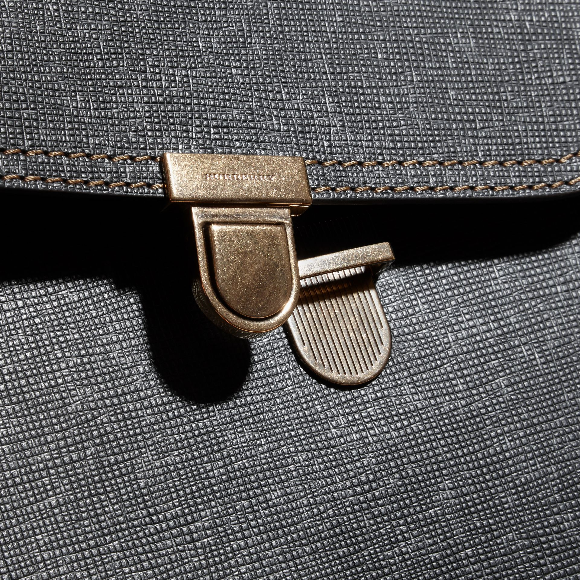Black The Medium Satchel in Textural Leather and House Check - gallery image 2