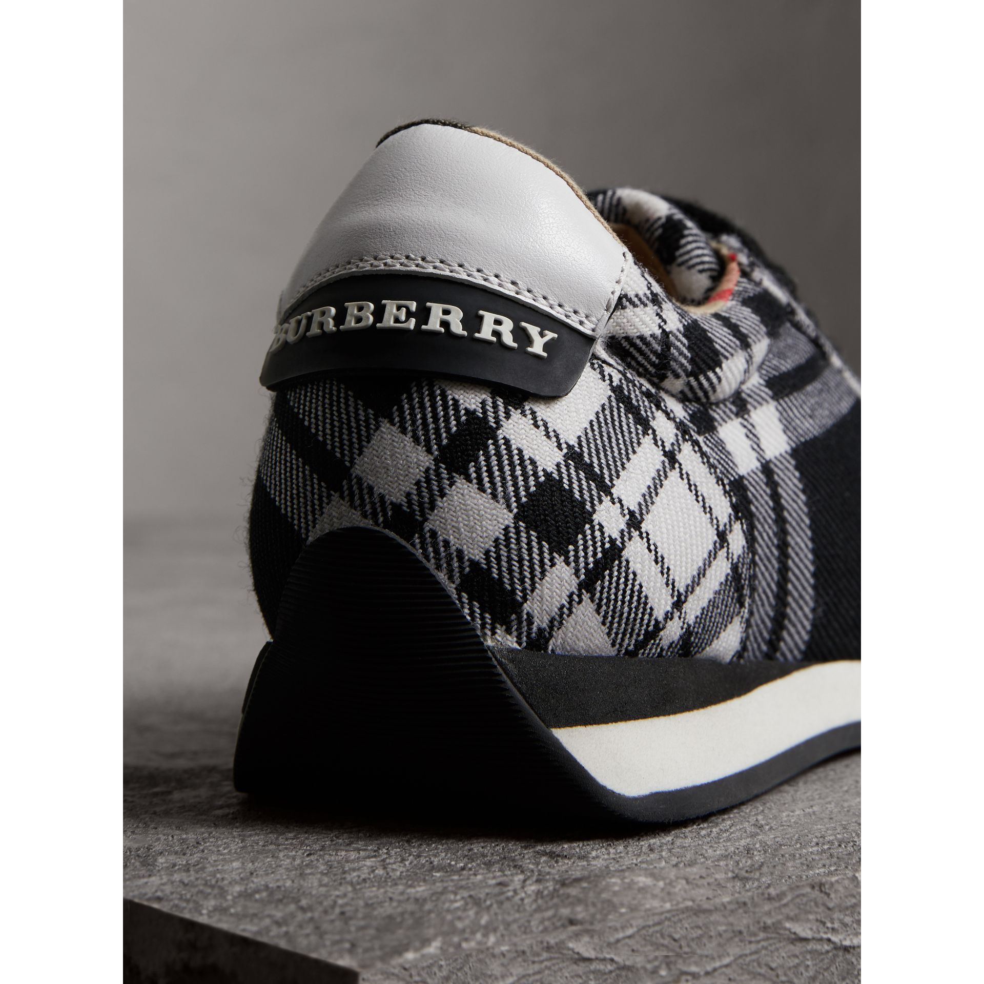 Tartan Wool Trainers in Black - Women | Burberry - gallery image 3
