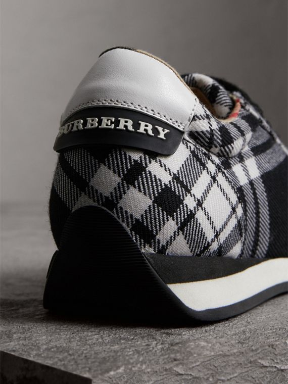 Tartan Wool Trainers in Black - Women | Burberry - cell image 3
