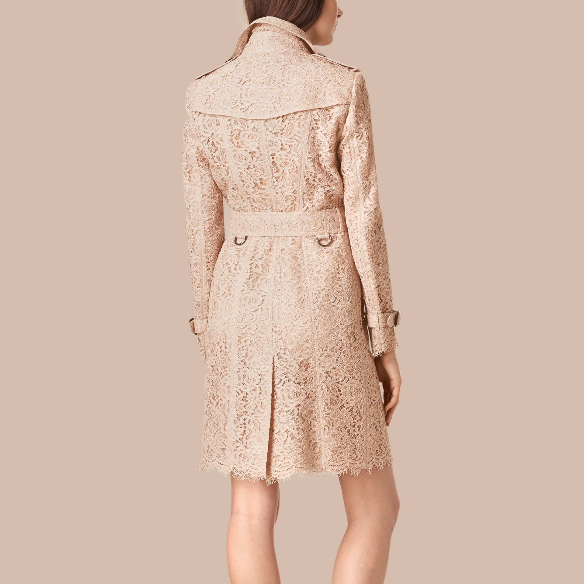 Antique taupe pink Scalloped-hem Italian Lace Trench Coat Antique Taupe Pink - gallery image 3