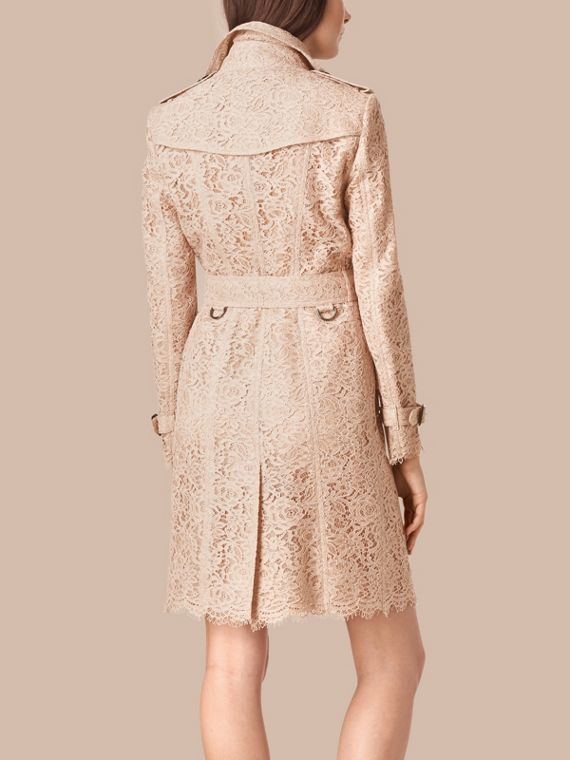 Antique taupe pink Italian Lace Trench Coat - cell image 2
