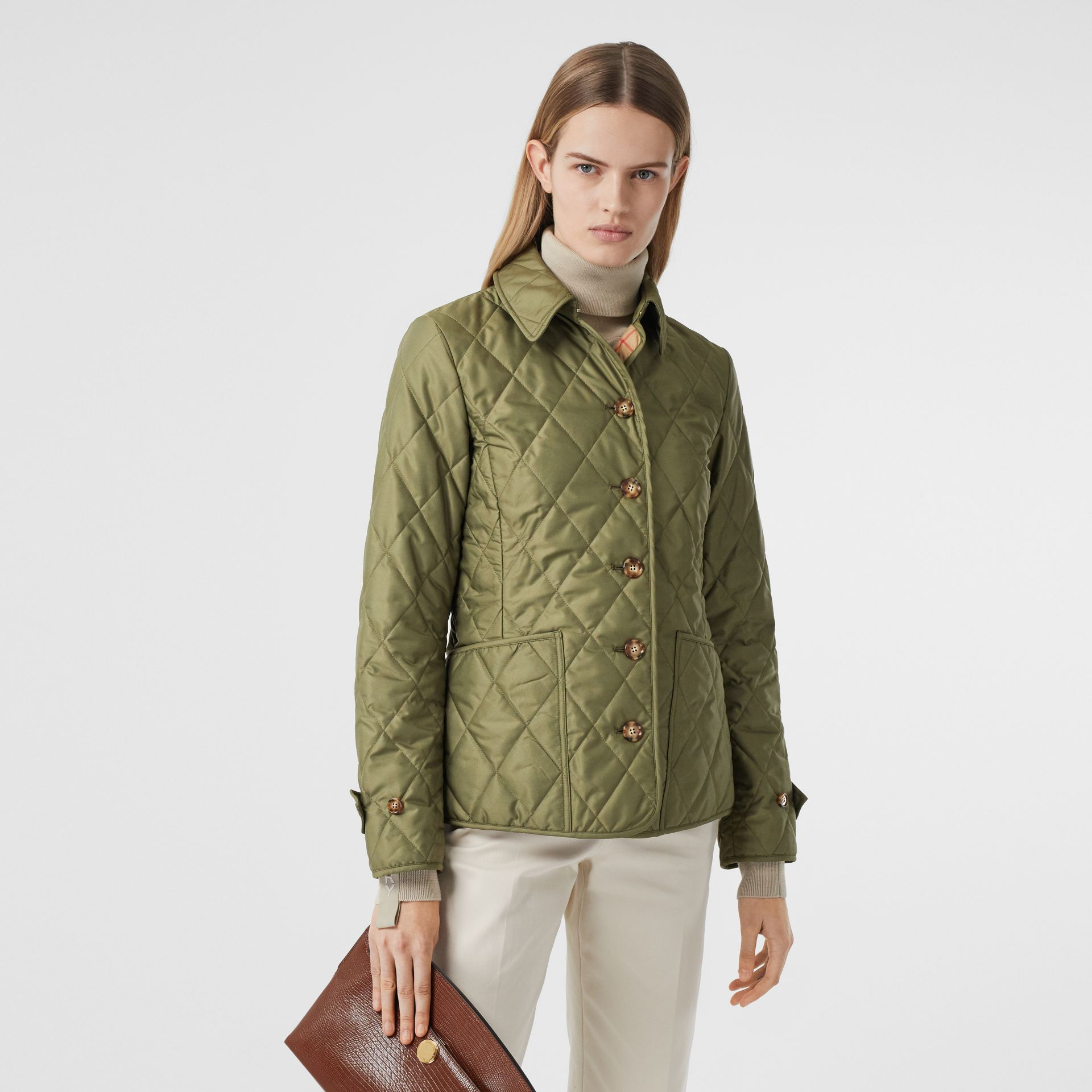 Diamond Quilted Thermoregulated Jacket in Olive Green - Women | Burberry - gallery image 6