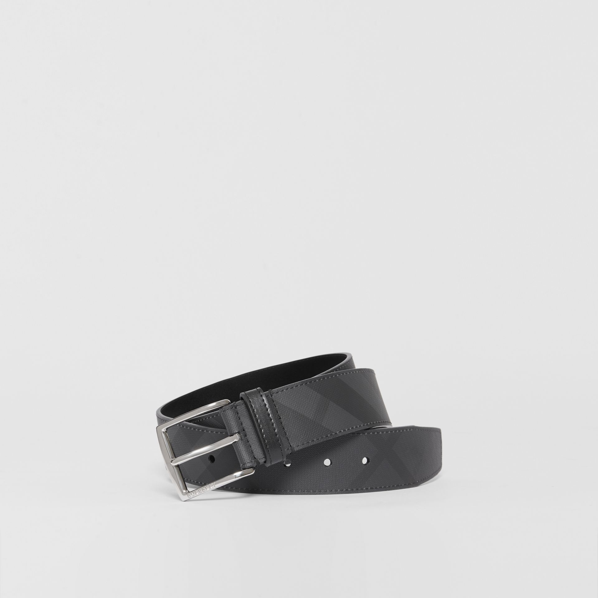 London Check and Leather Belt in Dark Charcoal/black - Men | Burberry United Kingdom - gallery image 0