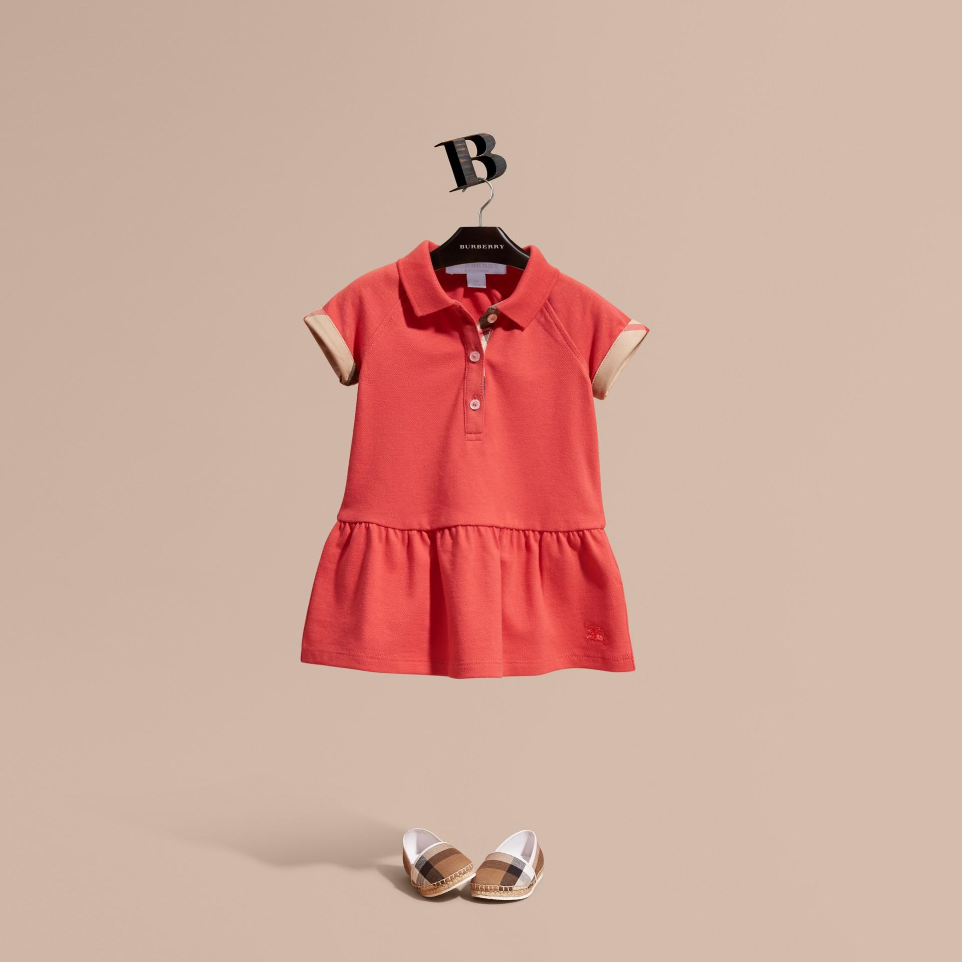 Check Detail Cotton Piqué Shirt Dress - gallery image 1