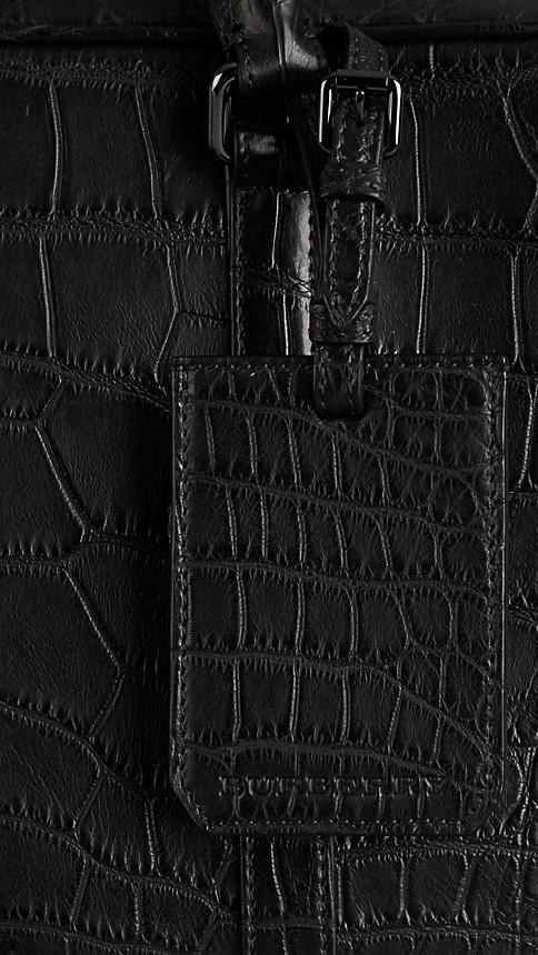 Black Alligator Leather Crossbody Briefcase - Image 6