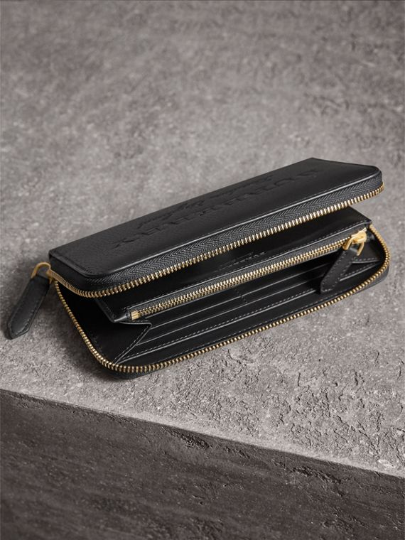 Embossed Leather Ziparound Wallet in Black - Women | Burberry - cell image 3