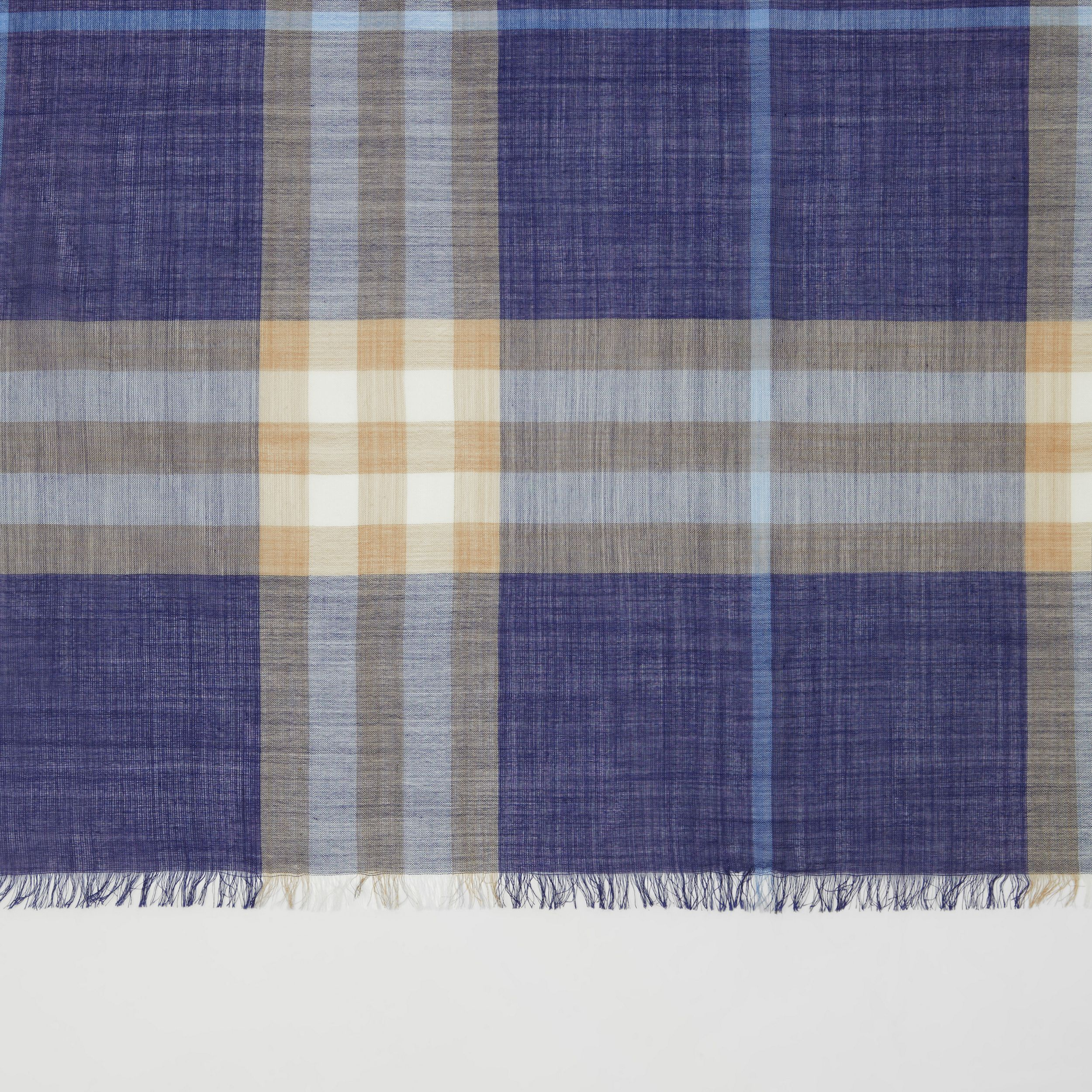 Lightweight Check Wool Silk Scarf in Inky Blue | Burberry - 2