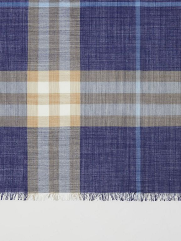 Lightweight Check Wool Silk Scarf in Inky Blue | Burberry - cell image 1
