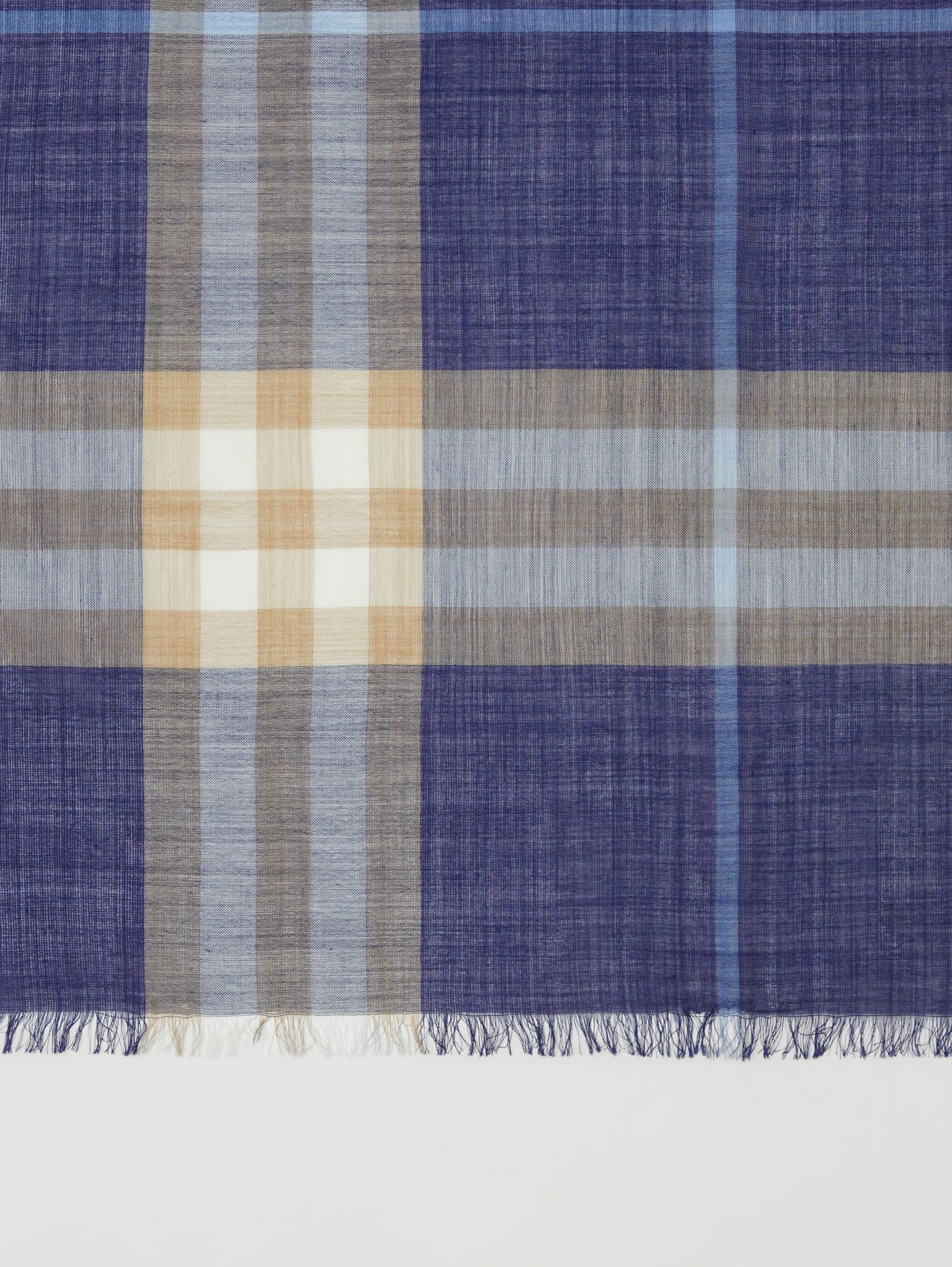 Lightweight Check Wool Silk Scarf in Inky Blue