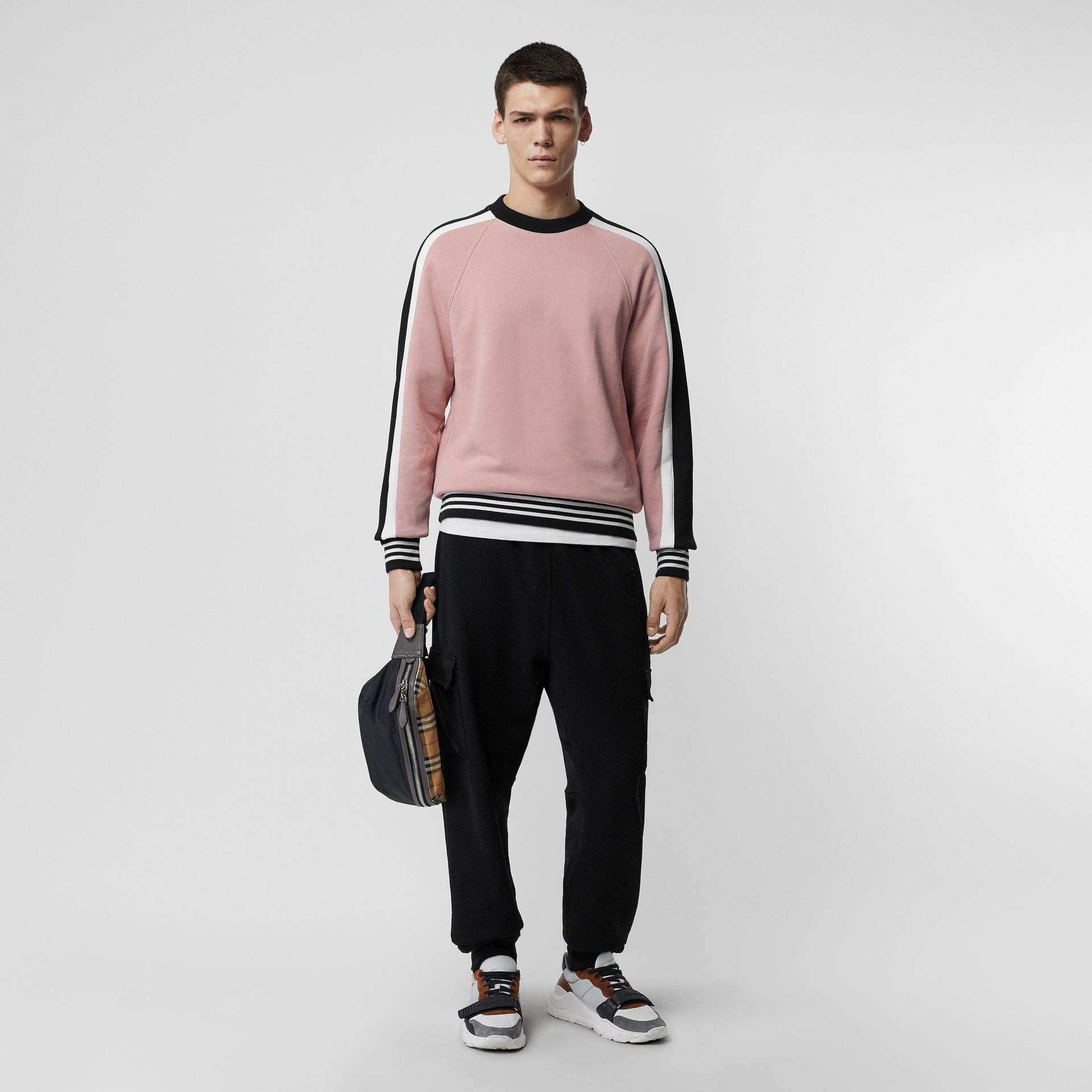 Stripe Detail Cotton Jersey Sweatshirt in Pale Orchid - Men | Burberry - gallery image 0