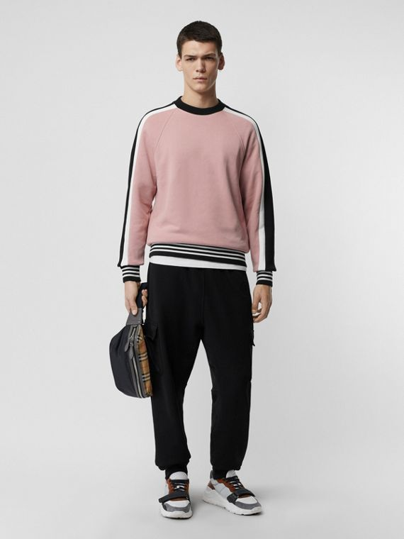 Stripe Detail Cotton Jersey Sweatshirt in Pale Orchid