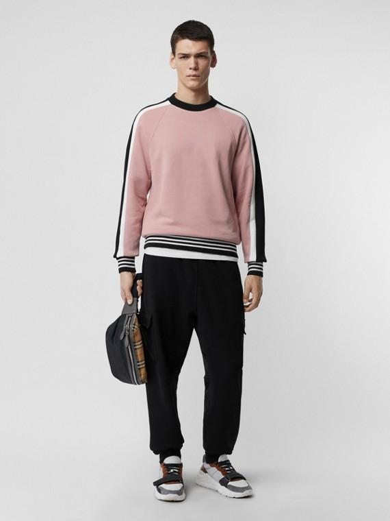 Sweatshirt aus Baumwolljersey mit Streifendetail (Helles Orchideenfarben)