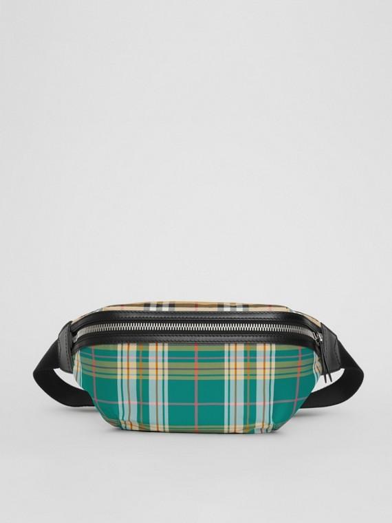 Marsupio medio con motivo Vintage check e tartan scozzese (Verde Pino)