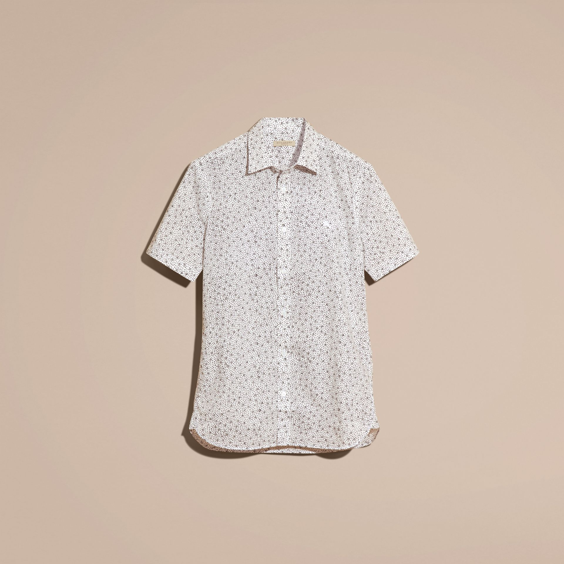 White Short-sleeved Dash Print Cotton Shirt White - gallery image 4