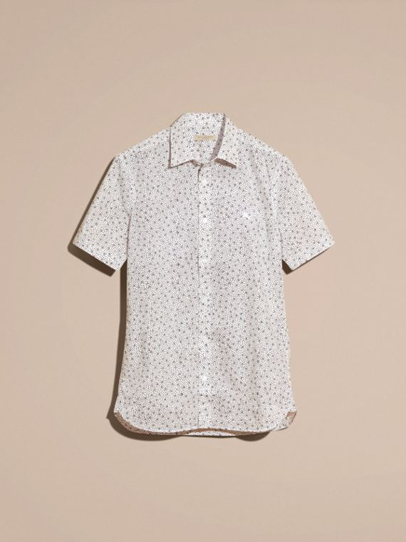White Short-sleeved Dash Print Cotton Shirt White - cell image 3