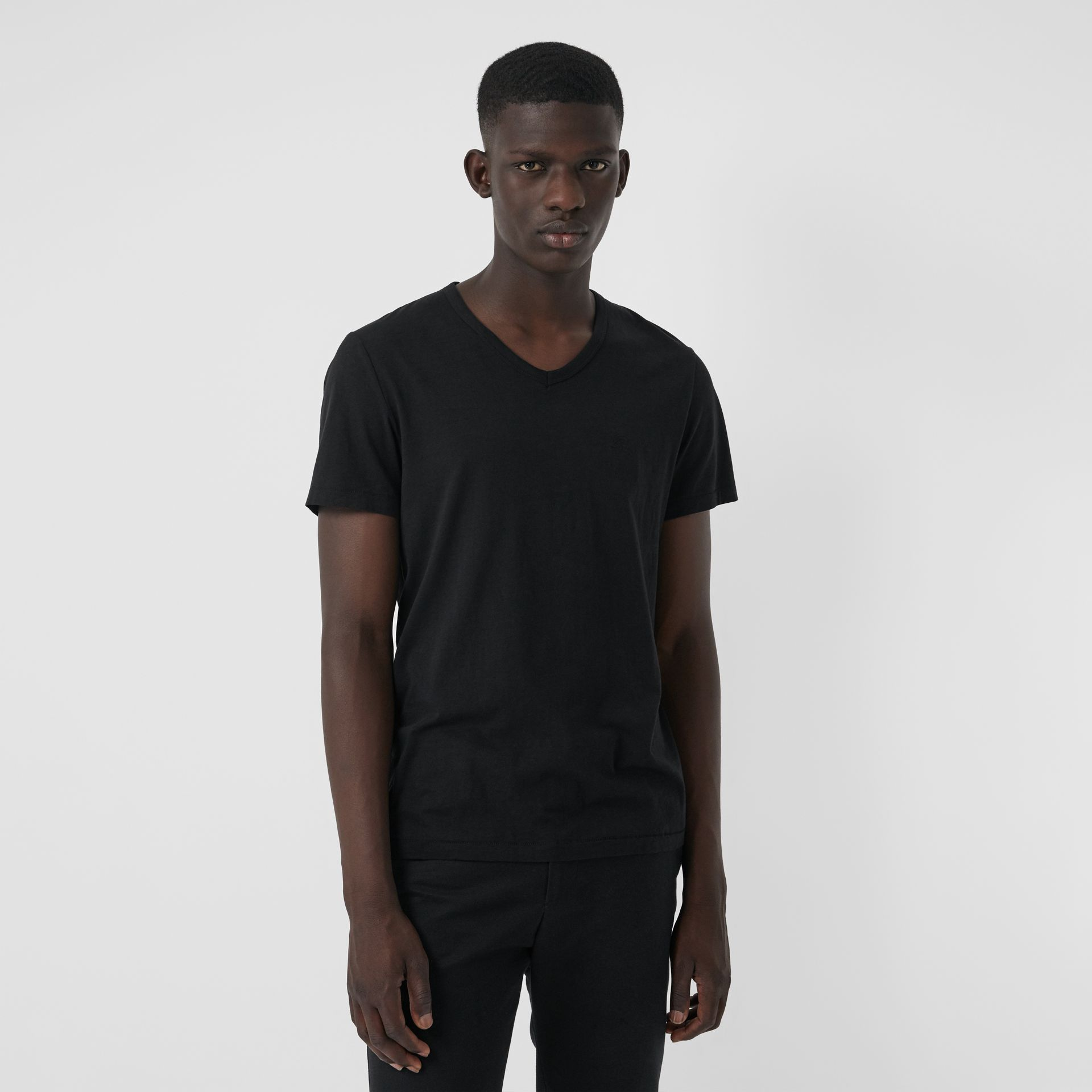 Cotton Jersey T-shirt in Black - Men | Burberry United Kingdom - gallery image 4