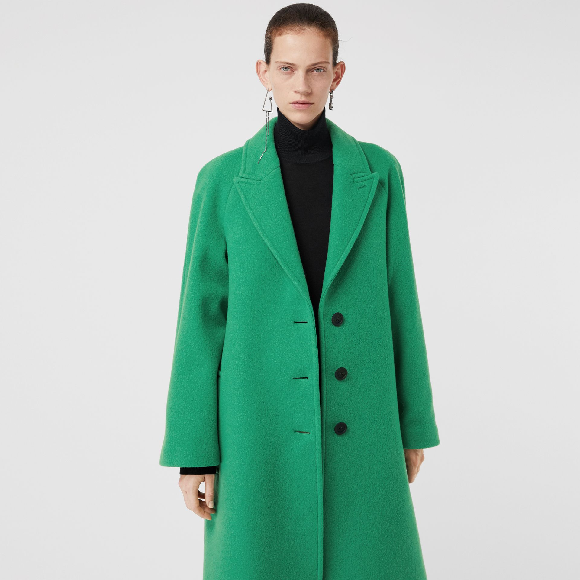 Wool Blend Tailored Coat in Bright Green - Women | Burberry - gallery image 4