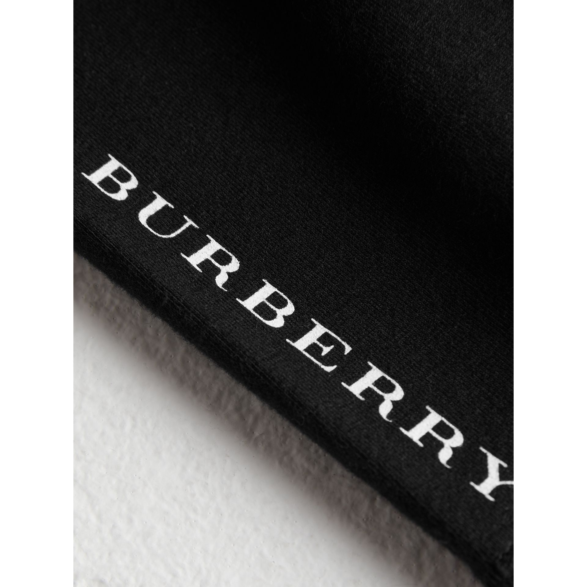 Logo Detail Stretch Cotton Leggings in Black - Children | Burberry Hong Kong - gallery image 1