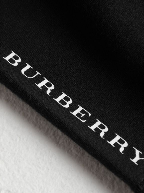Logo Detail Stretch Cotton Leggings in Black - Children | Burberry Australia - cell image 1