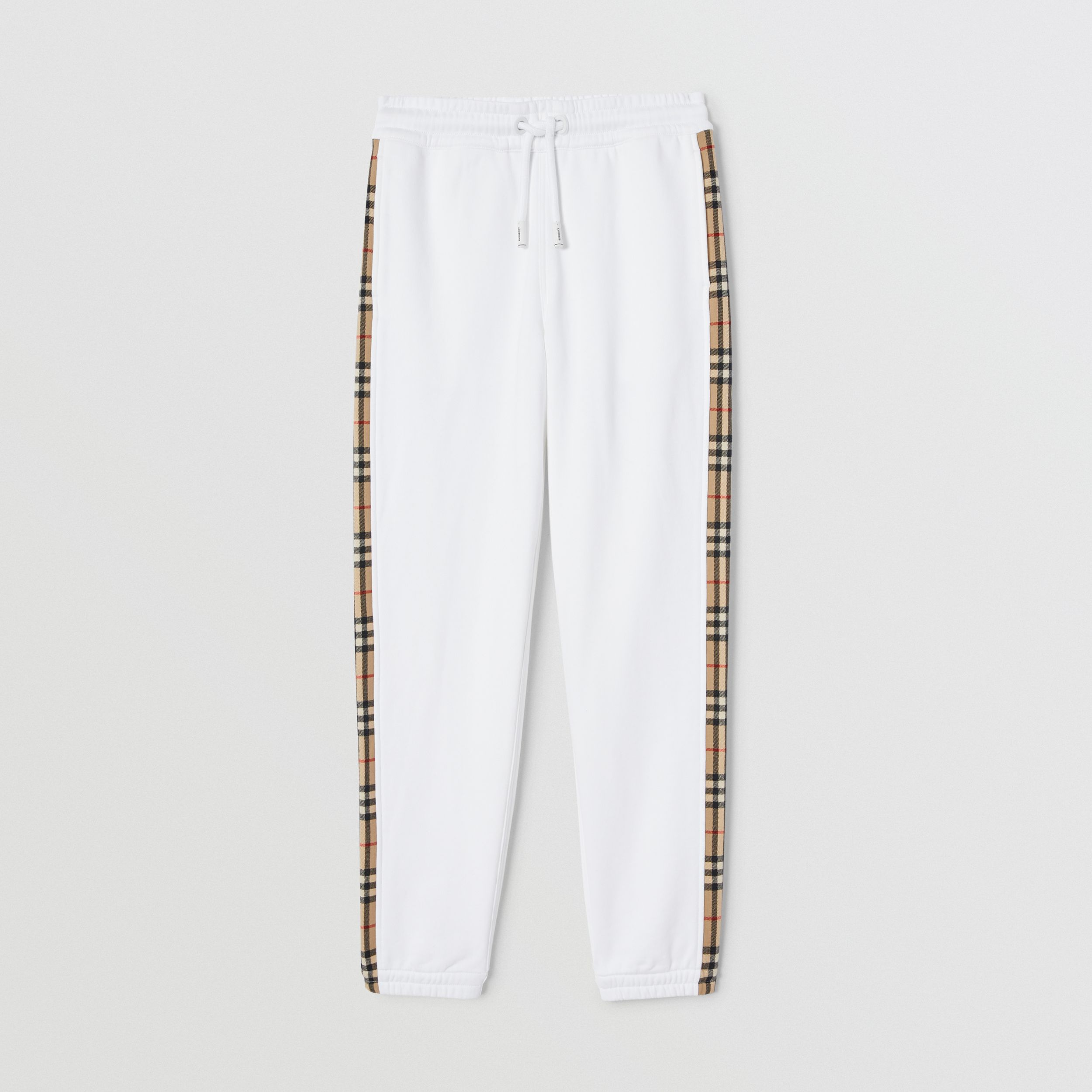 Vintage Check Detail Cotton Jogging Pants in White - Women | Burberry - 4