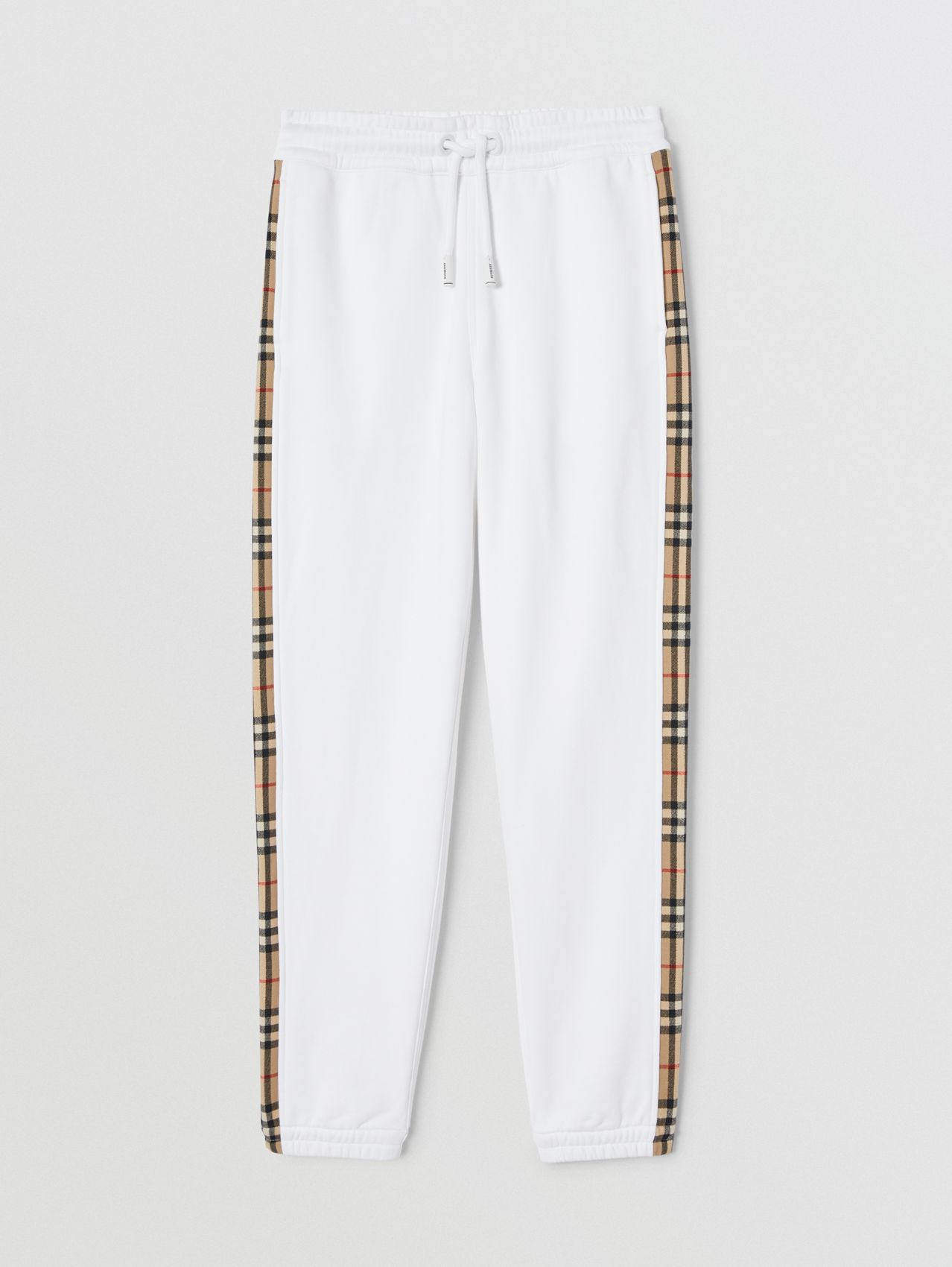 Vintage Check Side Stripe Cotton Trackpants in White