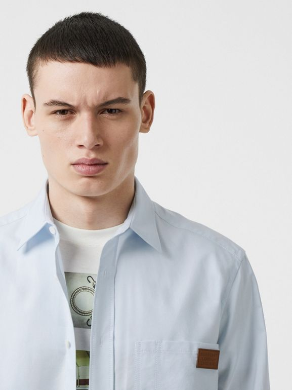 Logo Detail Cotton Oxford Shirt in Sky Blue - Men | Burberry - cell image 1