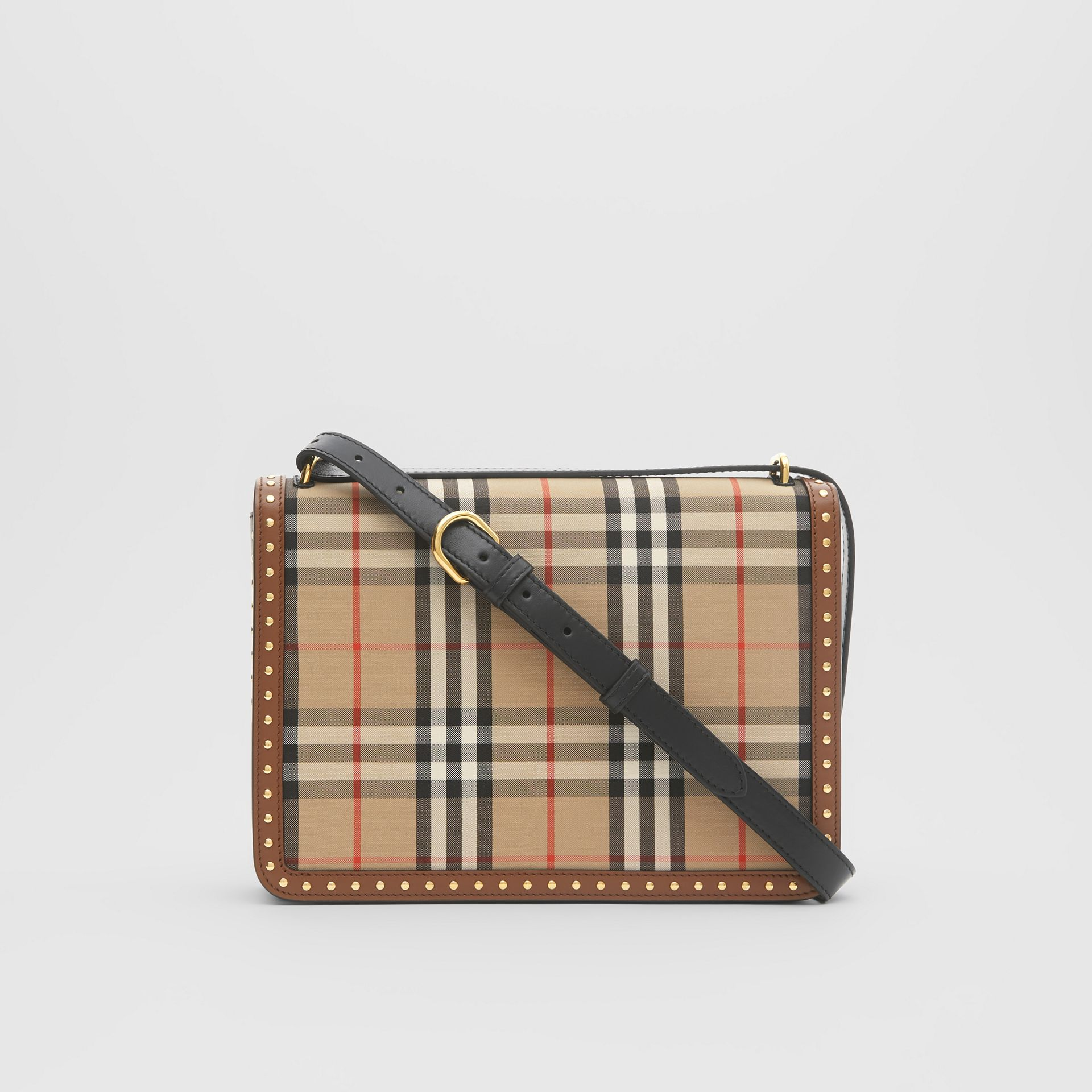 The Medium Leather and Vintage Check D-ring Bag in Archive Beige - Women | Burberry - gallery image 5