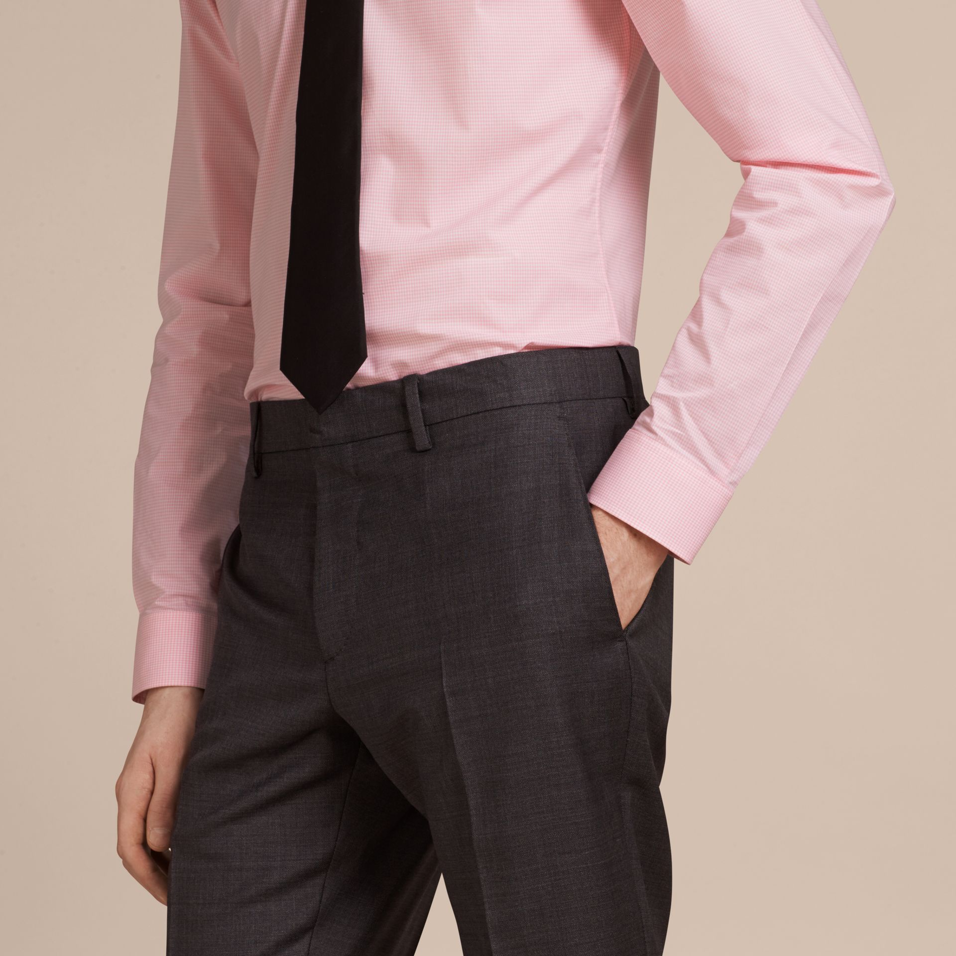 City pink Slim Fit Button-down Collar Gingham Cotton Poplin Shirt City Pink - gallery image 5