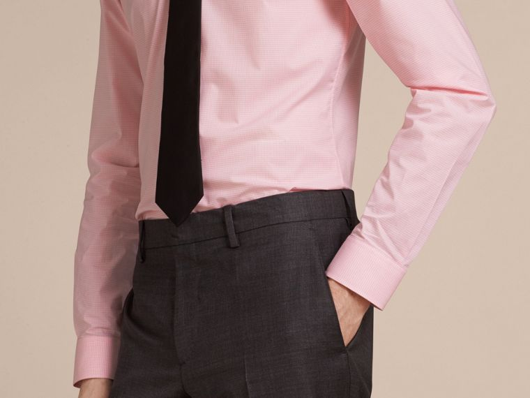 Slim Fit Button-down Collar Gingham Cotton Poplin Shirt in City Pink - cell image 4