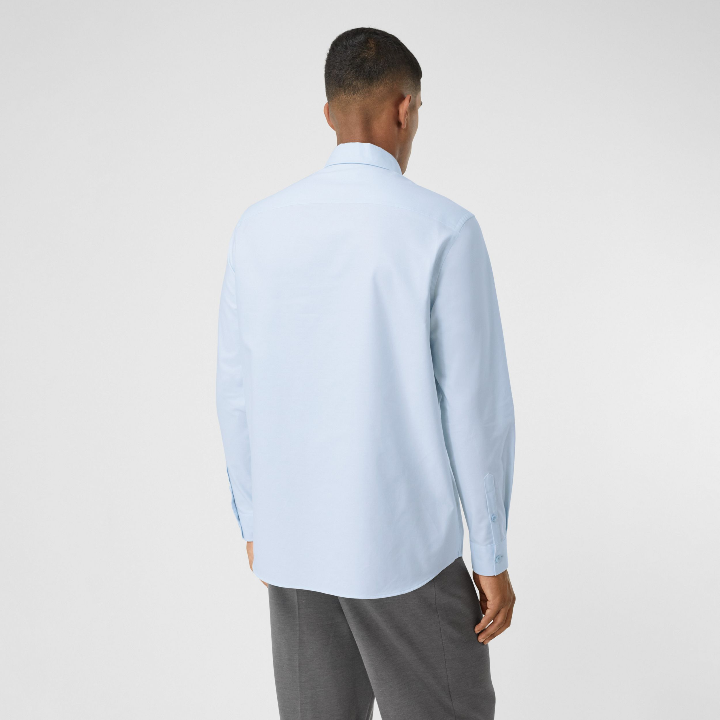 Swan and Slogan Appliqué Cotton Oversized Shirt in Sky Blue - Men | Burberry - 3