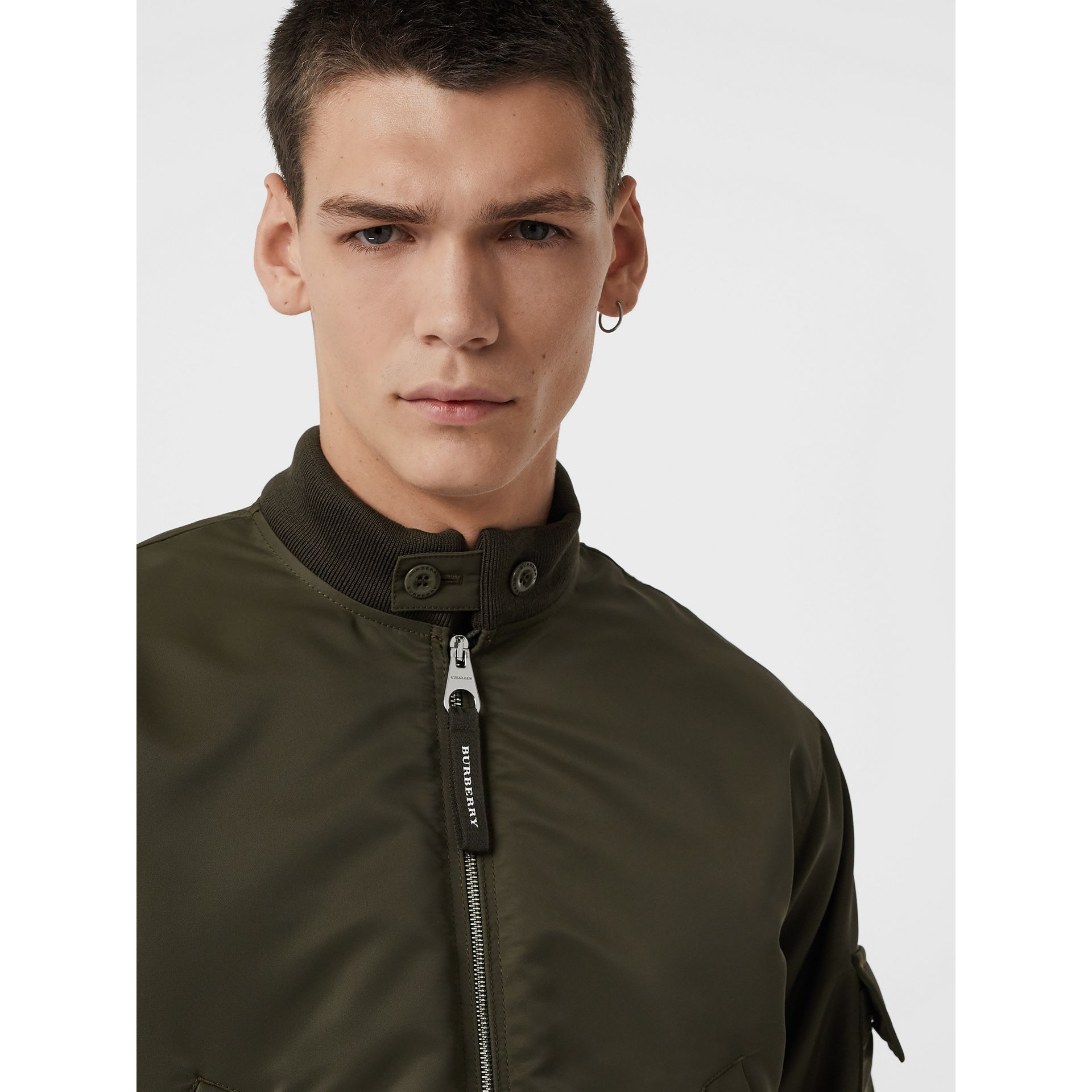Padded Nylon Bomber Jacket in Dark Olive - Men | Burberry Australia - gallery image 1