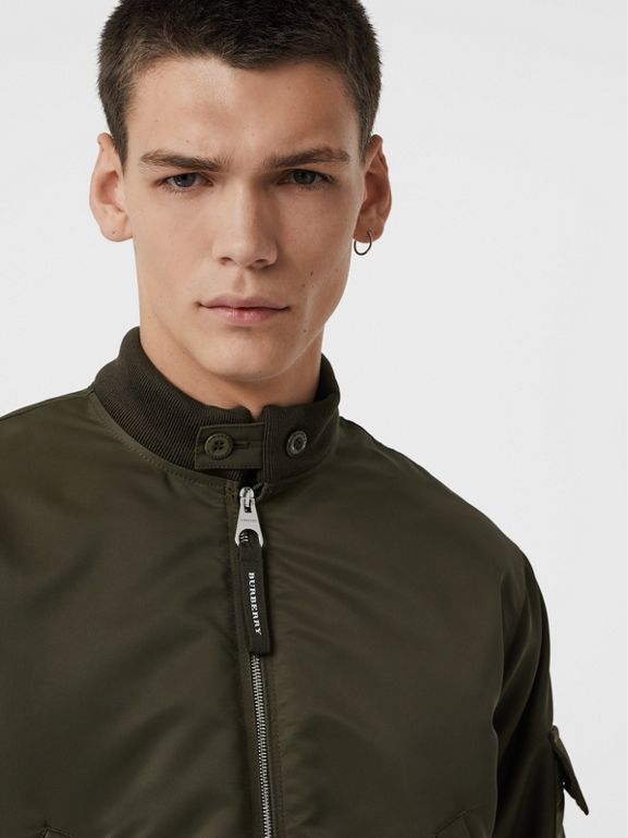 Padded Nylon Bomber Jacket in Dark Olive - Men | Burberry Australia - cell image 1