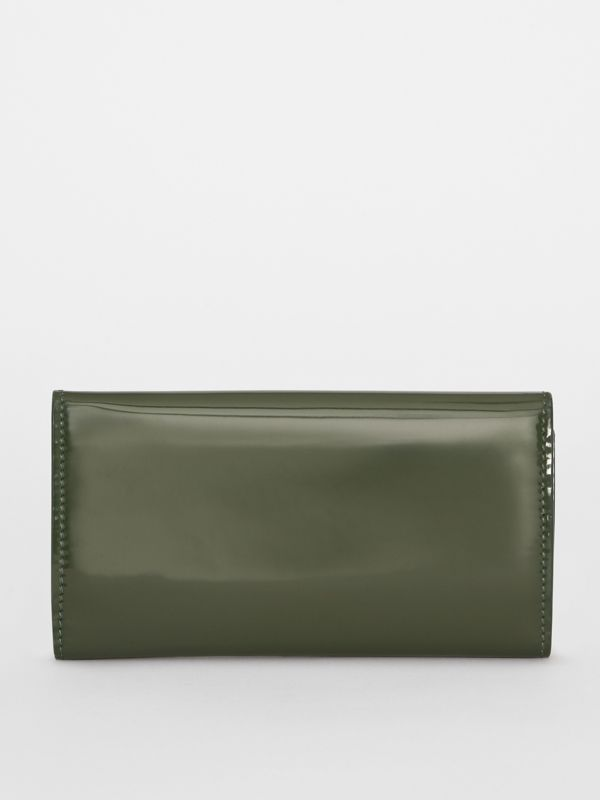 D-ring Patent Leather Continental Wallet in Dark Forest Green - Women | Burberry United States - cell image 2